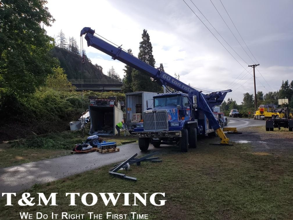 Heavy Wrecker in Midst of Recovery During Heavy Towing